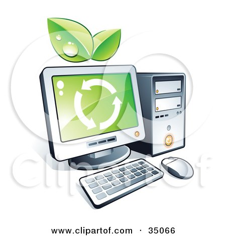 Clipart Illustration of Green Leaves And Recycle Arrows On A Desktop Computer by beboy