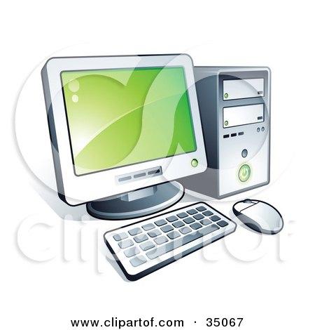 Clipart Illustration of a New Desktop Computer With Green Desktop Wallpaper by beboy