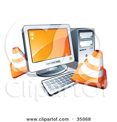 Construction Cones Around A Desktop Computer  Posters, Art Prints