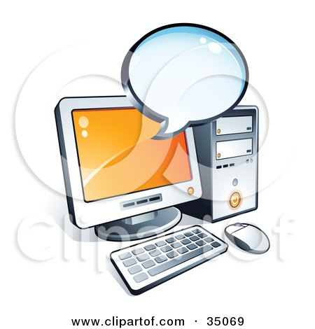 Clipart Illustration of a Blank Instant Messenger Window Over A Desktop Computer Screen by beboy