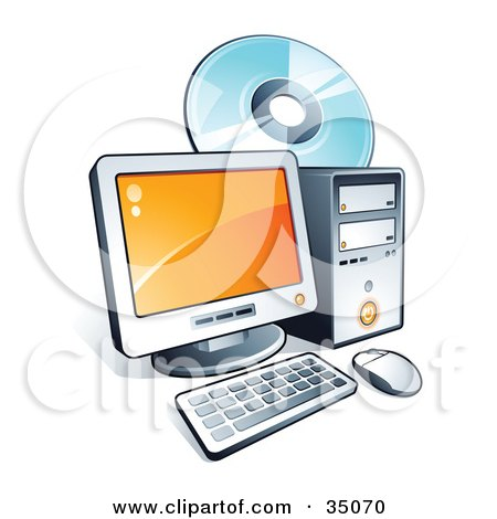 Clipart Illustration of a Compact Disc Behind a Desktop Computer by beboy