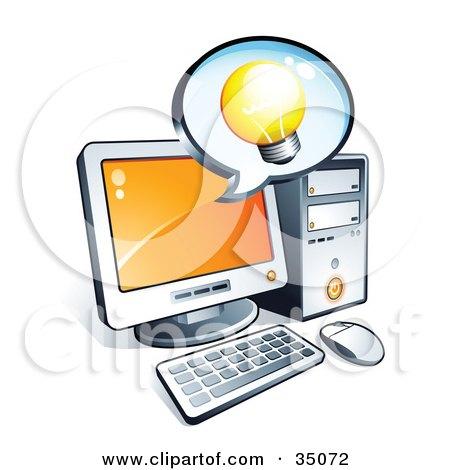 Clipart Illustration of a Light Bulb On An Instant Messenger Window Over A Desktop Computer Screen by beboy