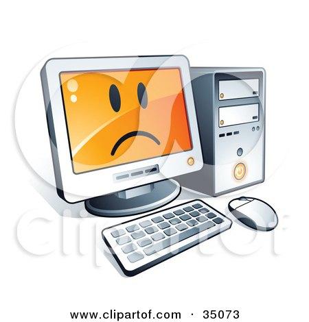 Sad Face On A Desktop Computer Screen Posters, Art Prints