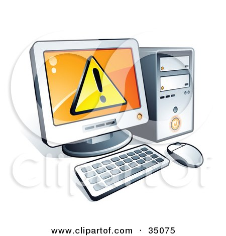 Clipart Illustration of a Warning Notice On A Desktop Computer Screen by beboy