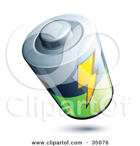 Clipart Illustration of a Lightning Bolt on a Silver, Black And Green Battery by beboy