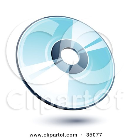 Clipart Illustration of a Shiny Blue Compact Disk by beboy