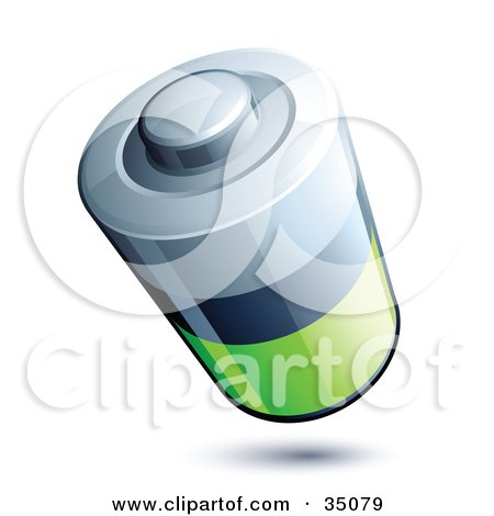 Clipart Illustration of a Silver, Black And Green Battery by beboy