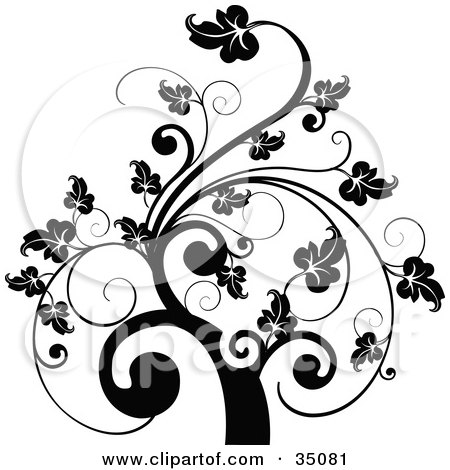 Black And White Leafy Scroll Tree Design Posters, Art Prints