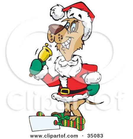 Clipart Illustration of a Brown Dog In A Santa Suit, Ringing A Bell To Bring In Donations by Dennis Holmes Designs