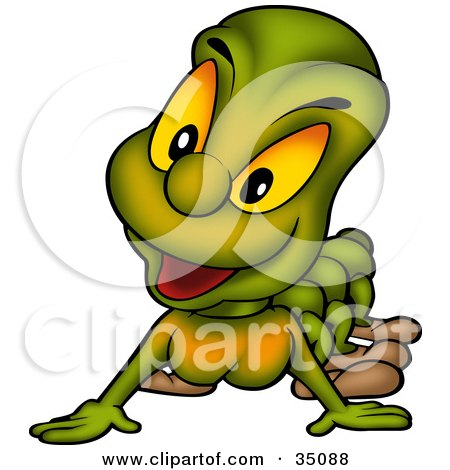 Clipart Illustration of a Curious Green Worm Or Caterpillar With Yellow Eyes by dero