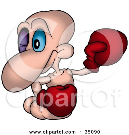 Clipart Illustration of a Pink Worm With A Black Eye, Wearing Boxing Gloves During A Fight by dero