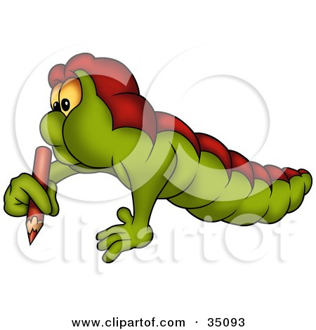 Clipart Illustration of a Chubby Green And Red Worm Writing With A Red Colored Pencil by dero