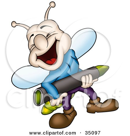 Clipart Illustration of a Laughing Lightning Bug In Clothes, Carrying A Green Crayon by dero