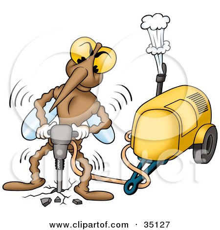Clipart Illustration of a Vibrating Mosquito Operating A Jackhammer by dero