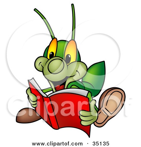 Clipart Illustration of a Green Cricket Reading An Exciting Story Book by dero