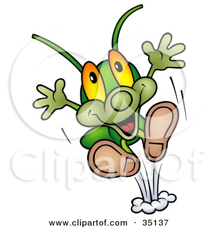 Clipart Illustration of a Hyper Green Cricket Leaping Upwards by dero