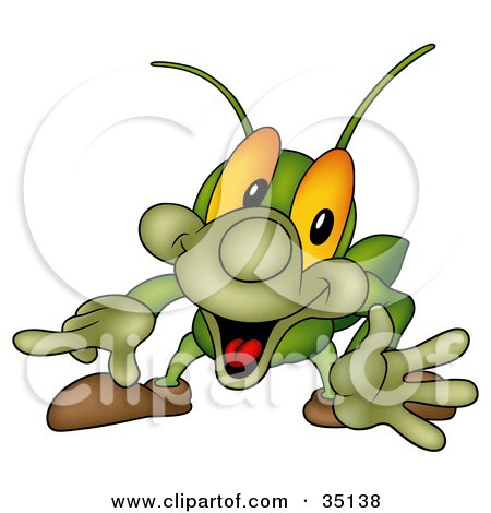 Clipart Illustration of an Excited Cricket Grabbing The Viewer's Attention And Pointing Left by dero