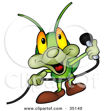 Clipart Illustration of a Friendly Green Cricket Holding A Microphone by dero