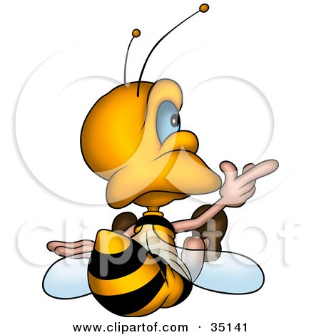 Clipart Illustration of a Cute Little Bee Sitting And Pointing Right, As Seen From Behind by dero