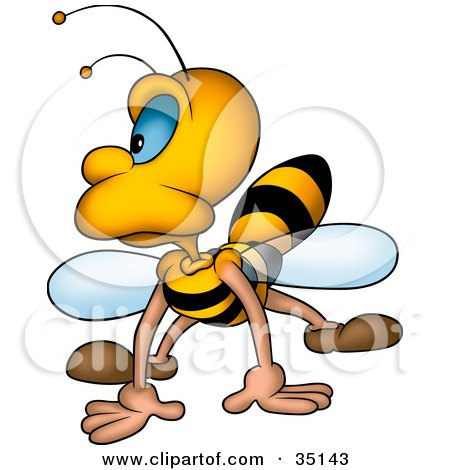 Clipart Illustration of a Grumpy Honeybee Landing And Looking To The Left by dero