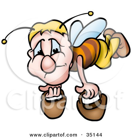 Clipart Illustration of a Depressed Worker Bee Carrying Two Pails by dero