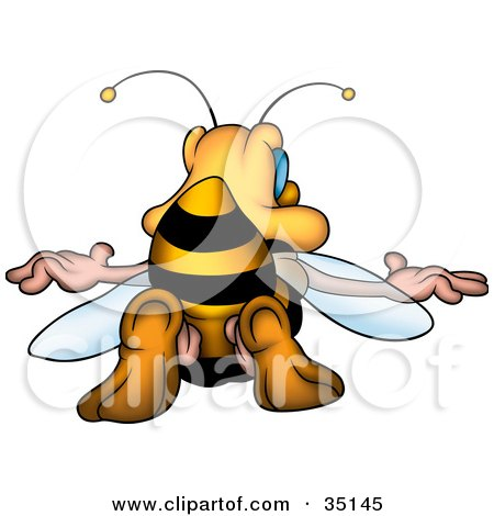 Clipart Illustration of a Honey Bee Sticking His Butt In The Air by dero