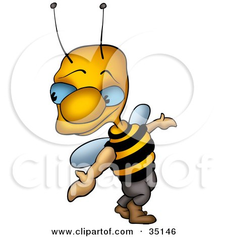 Clipart Illustration of a Sneaky Blue Eyed Wasp Looking Back Over His Shoulder by dero