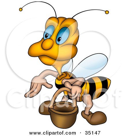 Clipart Illustration of a Cute Blue Eyed Worker Bee Carrying A Pail by dero