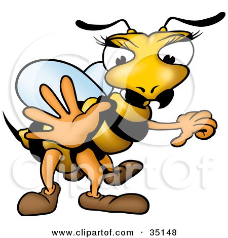 Clipart Illustration of a Female Wasp With Pretty Eyelashes, Holding One Hand Out by dero