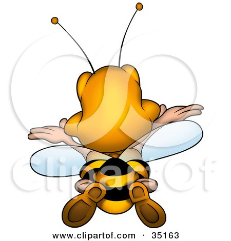 Clipart Illustration of a Happy Bumble Bee Flying Away by dero