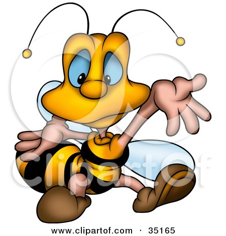 Clipart Illustration of a Confused Little Bee Shrugging His Arms by dero
