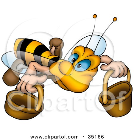 Clipart Illustration of a Cute Worker Bee With Blue Eyes, Carrying Two Buckets by dero