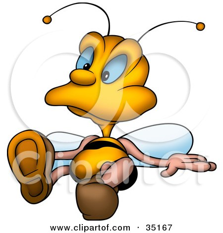 Clipart Illustration of a Relaxed Little Bee Laying On The Ground by dero