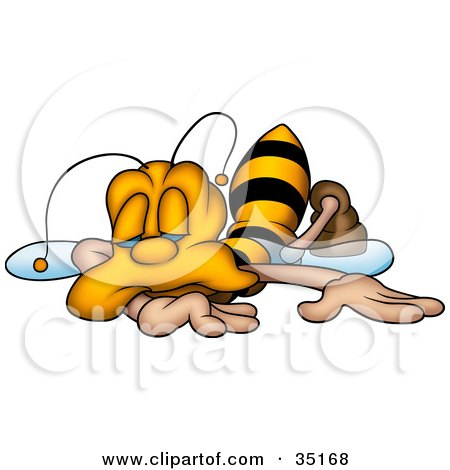 Clipart Illustration of an Exhausted Honeybee Collapsed And Falling Asleep by dero