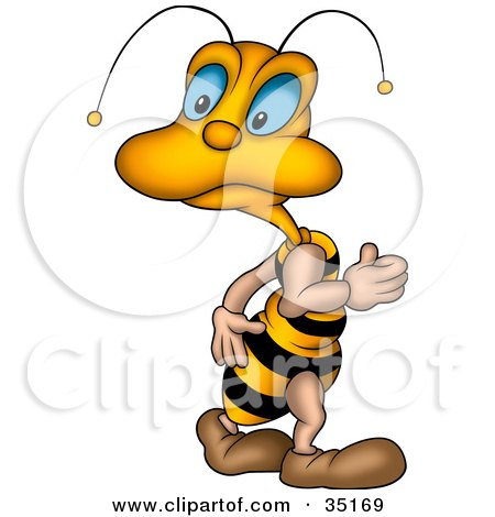 Clipart Illustration of a Cute Little Blue Eyed Bee Looking Back Over Its Shoulder by dero