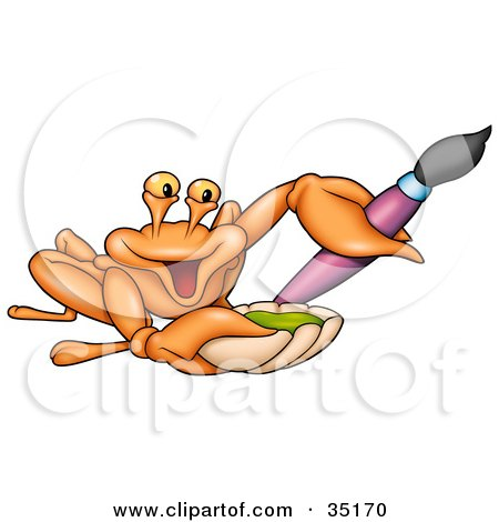 Clipart Illustration of a Friendly Artist Crab Holding Green Paint In A Shell And A Purple Paintbrush by dero