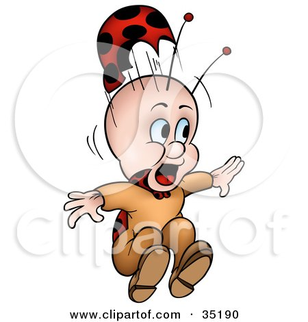 Clipart Illustration of a Scared Little Ladybug Character With His Hat Flying Off by dero