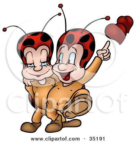 Clipart Illustration of a Romantic Little Ladybug Couple With Hearts, Walking With Their Arms Around Each Other by dero