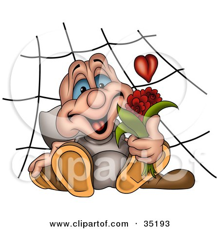 Clipart Illustration of a Romantic Spider With A Heart In A Web, Holding A Bouquet Of Red Flowers by dero