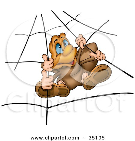 Clipart Illustration of a Spider With Blue Eyes, Hanging In A Web by dero