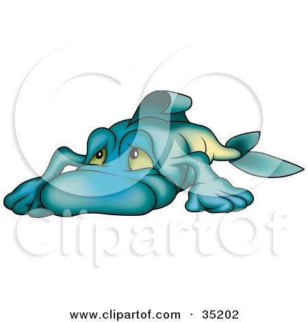 Clipart Illustration of a Depressed Blue Fish Sulking by dero