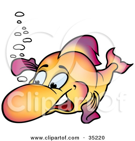Clipart Illustration of a Friendly Gradient Purple And Orange Fish Waving by dero