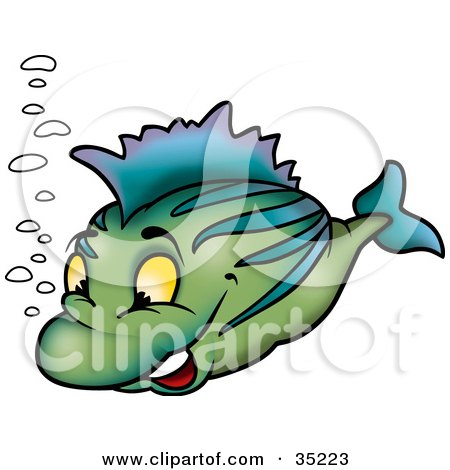 Clipart Illustration of a Happy Green Fish With Blue Stripes And Bubbles by dero