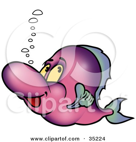 Clipart Illustration of a Purple Fish With Bubbles, Giving The Thumbs Up And Swimming By by dero