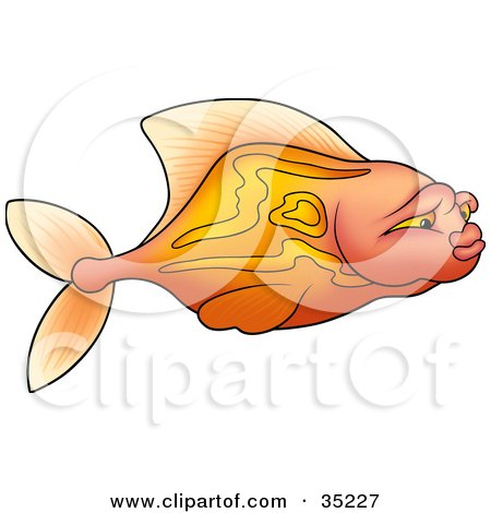 Clipart Illustration of a Gradient Pink And Orange Fish With Stripes, Swimming In Profile by dero