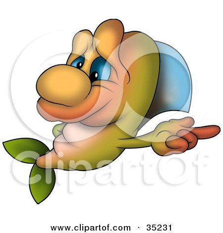 Clipart Illustration of a Cute Green And Orange Fish With Blue Eyes, Pointing Right by dero