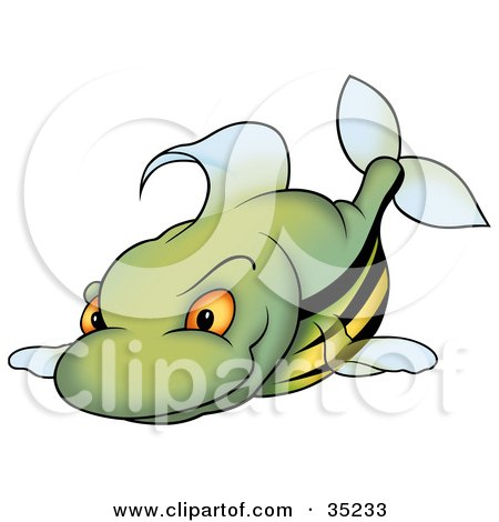 Clipart Illustration of a Mean Green Fish With A Yellow Belly, Orange Eyes And Black Stripes by dero