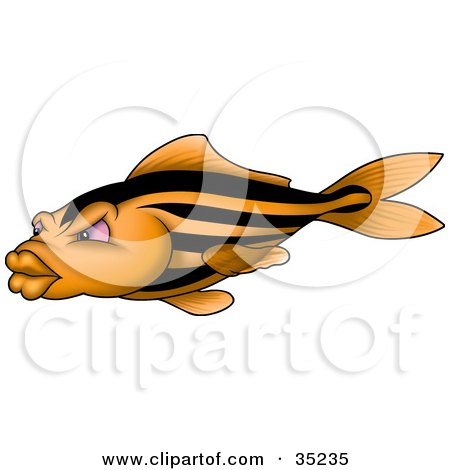 Clipart Illustration of an Orange Fish With Black Stripes, Pink Eyes And Big Lips by dero