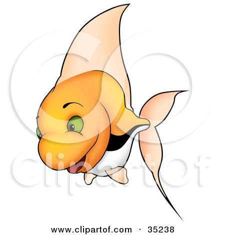 Clipart Illustration of a Happy Orange Fish With Green Eyes, Tall Fins And Black And White Stripes by dero