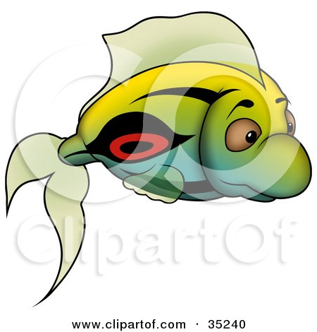 Clipart Illustration of a Gradient Green, Blue And Yellow Fish With Black And Red Markings by dero